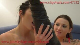 Julie Skyhigh and Daniella Rose high heels and boots lovers