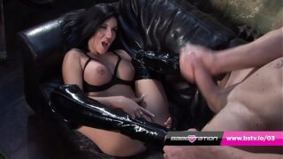 Emily B fucks and makes fan cum on her thigh boots