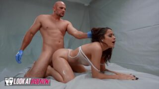 Jmac wears medical gloves to fuck Melody Foxx